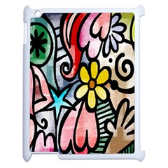 Digitally Painted Abstract Doodle Texture Apple Ipad 2 Case (white) by Simbadda