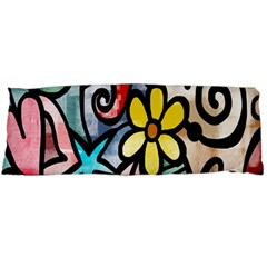 Digitally Painted Abstract Doodle Texture Body Pillow Case (Dakimakura)