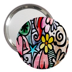Digitally Painted Abstract Doodle Texture 3  Handbag Mirrors by Simbadda