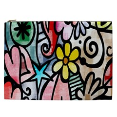 Digitally Painted Abstract Doodle Texture Cosmetic Bag (xxl)  by Simbadda