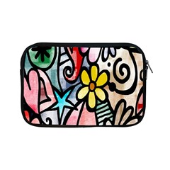 Digitally Painted Abstract Doodle Texture Apple Ipad Mini Zipper Cases by Simbadda