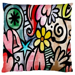 Digitally Painted Abstract Doodle Texture Standard Flano Cushion Case (two Sides) by Simbadda