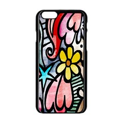 Digitally Painted Abstract Doodle Texture Apple Iphone 6/6s Black Enamel Case by Simbadda
