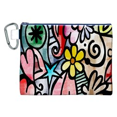 Digitally Painted Abstract Doodle Texture Canvas Cosmetic Bag (xxl) by Simbadda