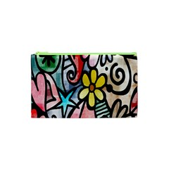 Digitally Painted Abstract Doodle Texture Cosmetic Bag (xs) by Simbadda