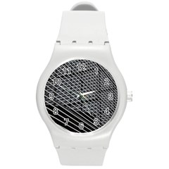 Abstract Architecture Pattern Round Plastic Sport Watch (m) by Simbadda