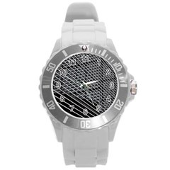 Abstract Architecture Pattern Round Plastic Sport Watch (l) by Simbadda