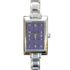 Squares Blue Background Rectangle Italian Charm Watch by Simbadda