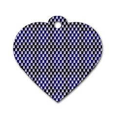 Squares Blue Background Dog Tag Heart (one Side) by Simbadda