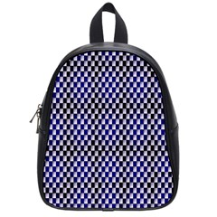 Squares Blue Background School Bags (small)  by Simbadda