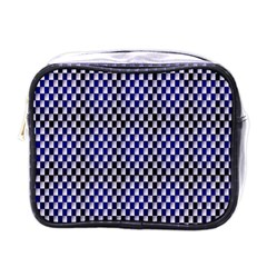 Squares Blue Background Mini Toiletries Bags by Simbadda