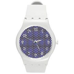 Squares Blue Background Round Plastic Sport Watch (m) by Simbadda