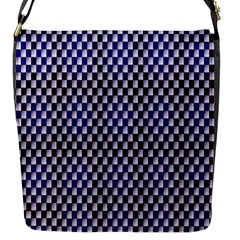 Squares Blue Background Flap Messenger Bag (s) by Simbadda