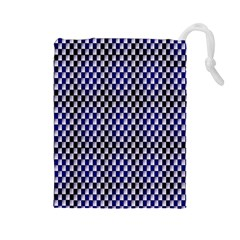 Squares Blue Background Drawstring Pouches (large)  by Simbadda