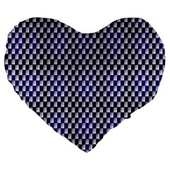 Squares Blue Background Large 19  Premium Flano Heart Shape Cushions by Simbadda