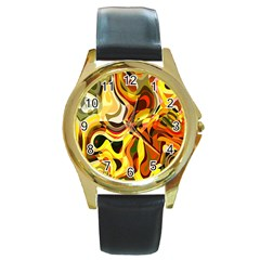 Colourful Abstract Background Design Round Gold Metal Watch by Simbadda
