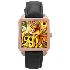 Colourful Abstract Background Design Rose Gold Leather Watch  by Simbadda