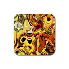 Colourful Abstract Background Design Rubber Square Coaster (4 Pack)  by Simbadda