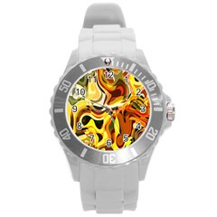 Colourful Abstract Background Design Round Plastic Sport Watch (l) by Simbadda