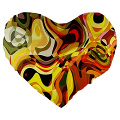 Colourful Abstract Background Design Large 19  Premium Heart Shape Cushions by Simbadda