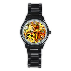 Colourful Abstract Background Design Stainless Steel Round Watch by Simbadda