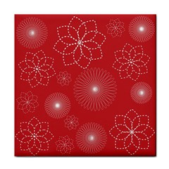 Floral Spirals Wallpaper Background Red Pattern Tile Coasters by Simbadda