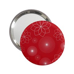 Floral Spirals Wallpaper Background Red Pattern 2 25  Handbag Mirrors by Simbadda