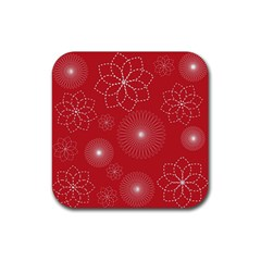 Floral Spirals Wallpaper Background Red Pattern Rubber Square Coaster (4 Pack)  by Simbadda