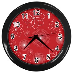 Floral Spirals Wallpaper Background Red Pattern Wall Clocks (black) by Simbadda