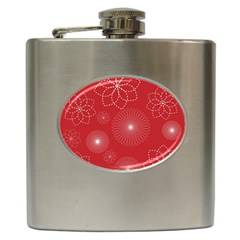Floral Spirals Wallpaper Background Red Pattern Hip Flask (6 Oz) by Simbadda