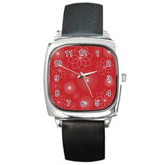 Floral Spirals Wallpaper Background Red Pattern Square Metal Watch by Simbadda