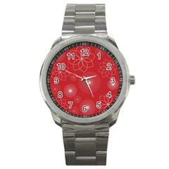 Floral Spirals Wallpaper Background Red Pattern Sport Metal Watch by Simbadda