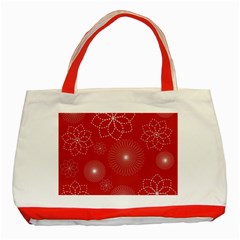 Floral Spirals Wallpaper Background Red Pattern Classic Tote Bag (red) by Simbadda