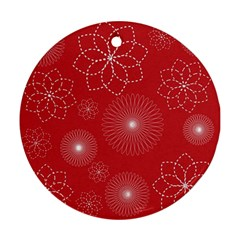 Floral Spirals Wallpaper Background Red Pattern Round Ornament (two Sides) by Simbadda