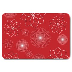 Floral Spirals Wallpaper Background Red Pattern Large Doormat  by Simbadda