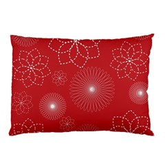 Floral Spirals Wallpaper Background Red Pattern Pillow Case by Simbadda
