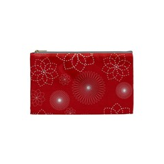 Floral Spirals Wallpaper Background Red Pattern Cosmetic Bag (small)  by Simbadda