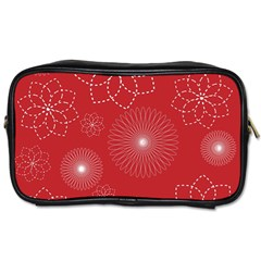 Floral Spirals Wallpaper Background Red Pattern Toiletries Bags by Simbadda