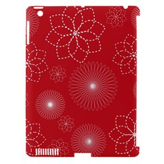 Floral Spirals Wallpaper Background Red Pattern Apple Ipad 3/4 Hardshell Case (compatible With Smart Cover) by Simbadda