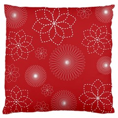 Floral Spirals Wallpaper Background Red Pattern Large Cushion Case (one Side) by Simbadda