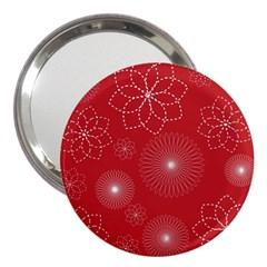 Floral Spirals Wallpaper Background Red Pattern 3  Handbag Mirrors by Simbadda