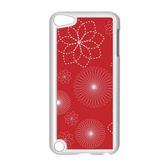 Floral Spirals Wallpaper Background Red Pattern Apple Ipod Touch 5 Case (white) by Simbadda