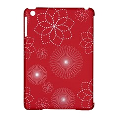 Floral Spirals Wallpaper Background Red Pattern Apple Ipad Mini Hardshell Case (compatible With Smart Cover) by Simbadda