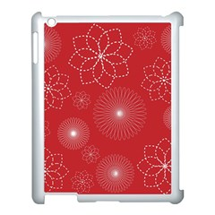 Floral Spirals Wallpaper Background Red Pattern Apple Ipad 3/4 Case (white) by Simbadda