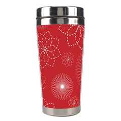 Floral Spirals Wallpaper Background Red Pattern Stainless Steel Travel Tumblers by Simbadda