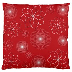 Floral Spirals Wallpaper Background Red Pattern Large Flano Cushion Case (two Sides) by Simbadda