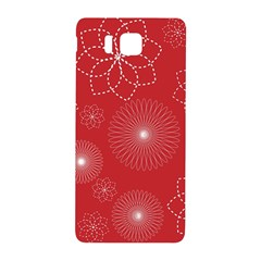 Floral Spirals Wallpaper Background Red Pattern Samsung Galaxy Alpha Hardshell Back Case