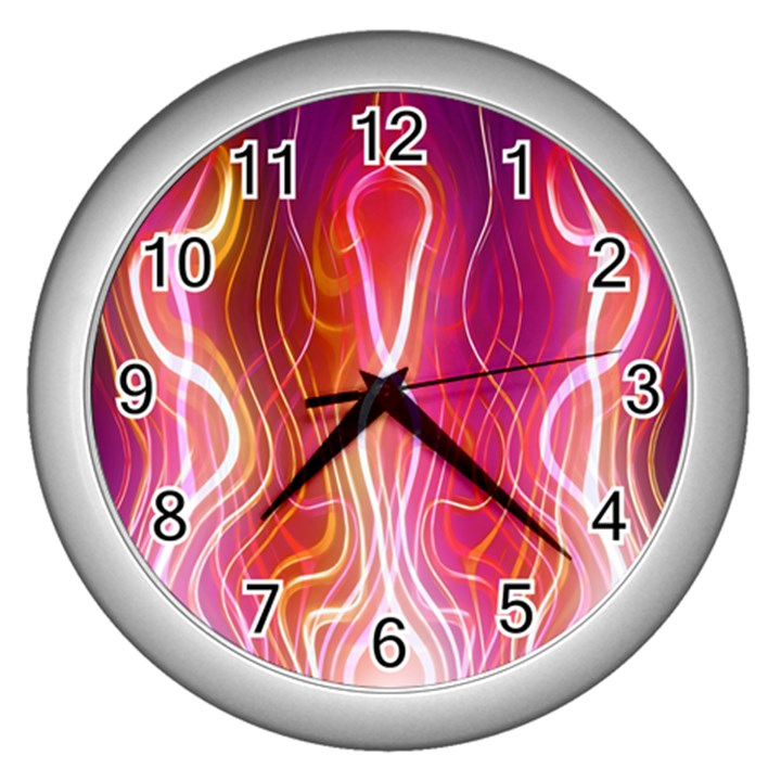 Fire Flames Abstract Background Wall Clocks (Silver)