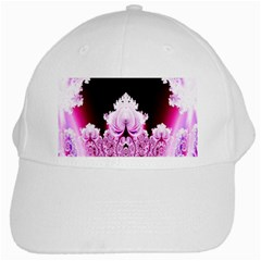 Fractal In Pink Lovely White Cap by Simbadda