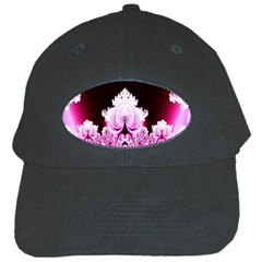 Fractal In Pink Lovely Black Cap by Simbadda